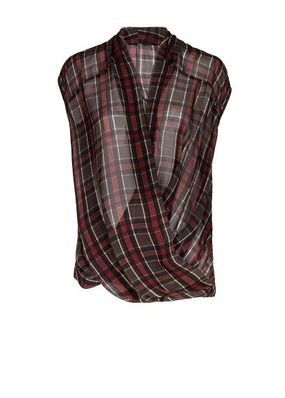 blouse croisée carreaux ecossais Mango
