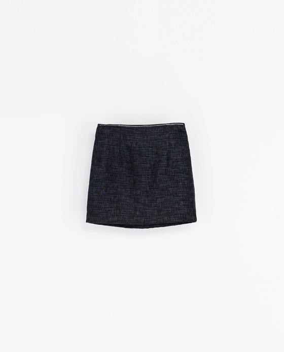 Jupe en laine et liseré en similicuir Zara - 39.95€